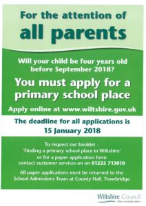 Applying for a Primary School place flyer - Woodborough Primary School
