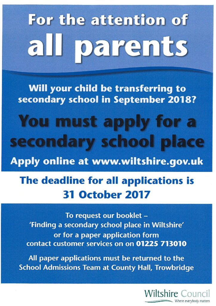 Applying for a Secondary School place flyer - Woodborough Primary School