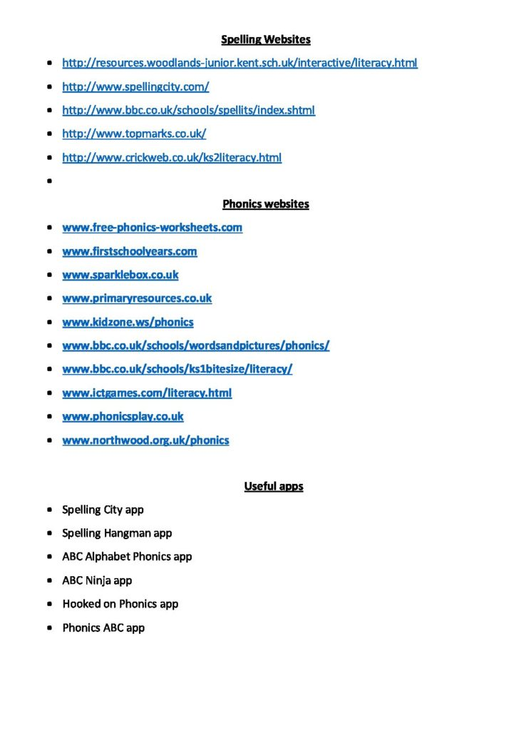 Useful Spelling Websites and Apps for Parents - Woodborough Primary
