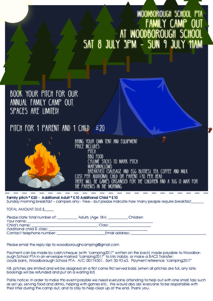 Campout with return slip A4 2017 - Woodborough Primary School