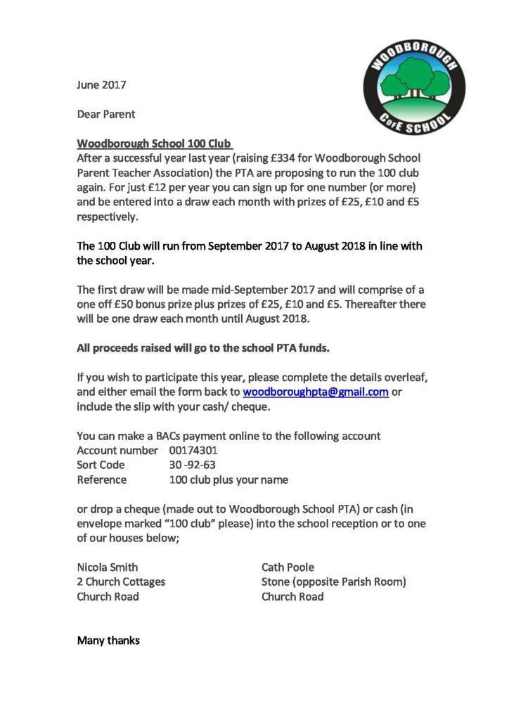 Woodborough 100 Club_letter - Woodborough Primary School
