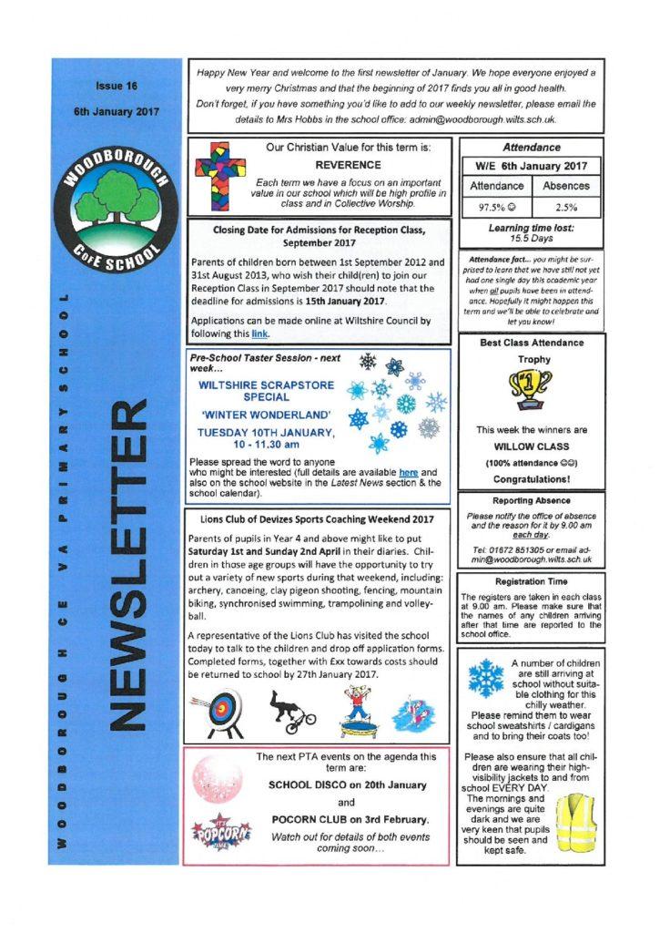 6th January 2017 - Woodborough Primary School