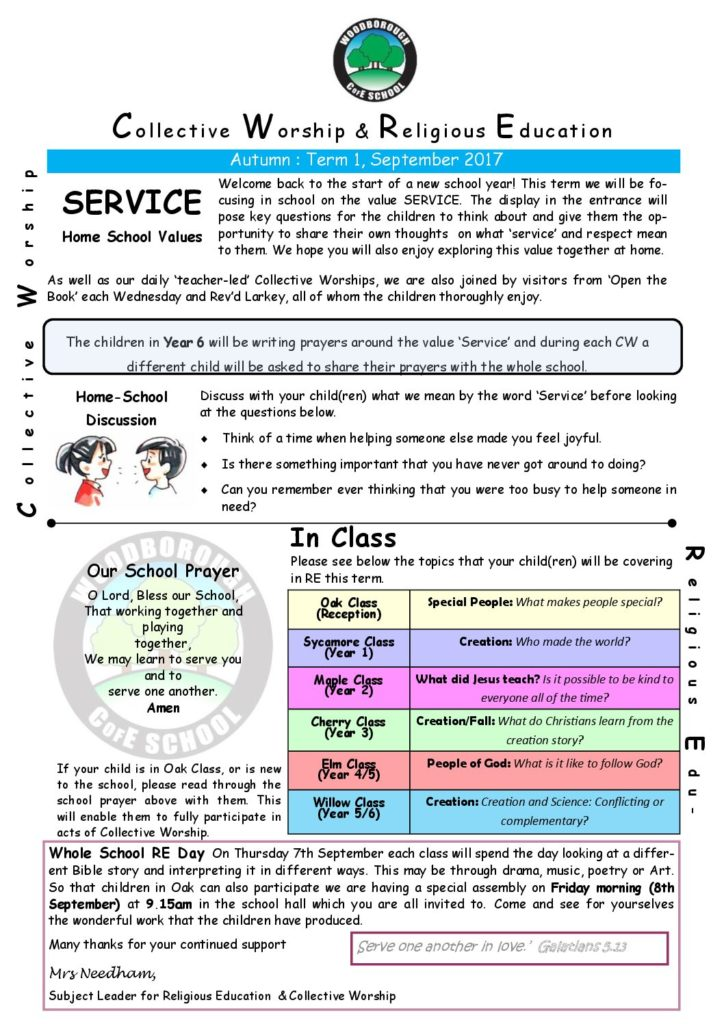 RE NEWSLETTER Autumn 1 2017 'SERVICE' - Woodborough Primary