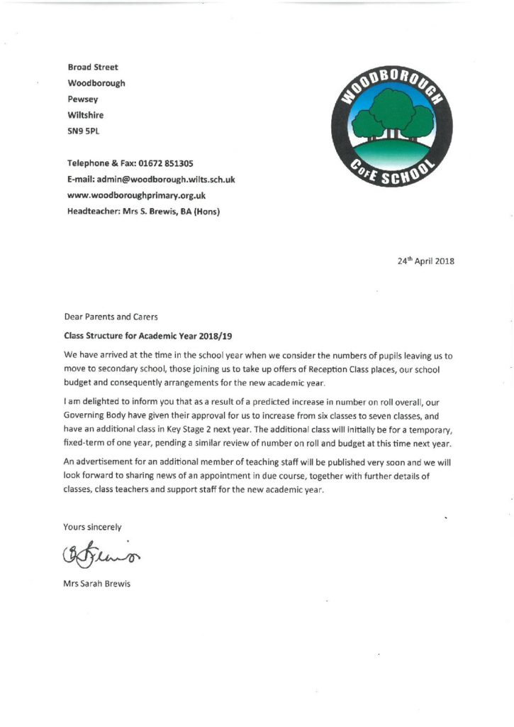 Letter to Parents re  Class Structure for Academic Year 2018-19