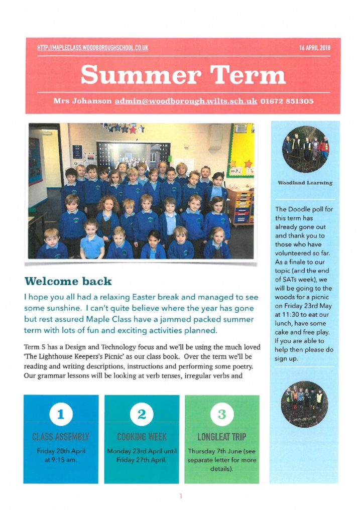 Maple Class Newsletter Terms 5 and 6 - Woodborough Primary School