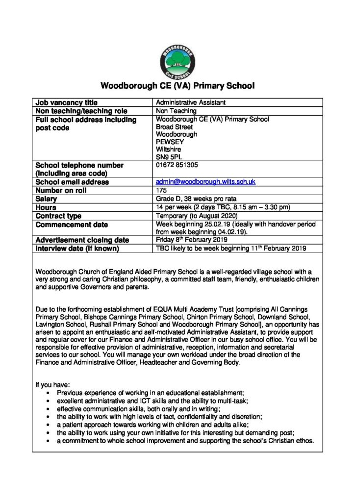 Advertisement for Administrative Assistant January 2019