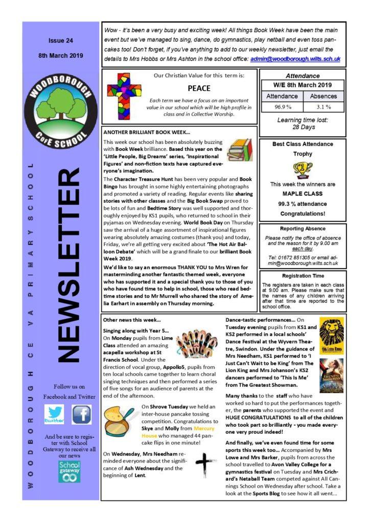 8th March 2019 - Woodborough Primary School