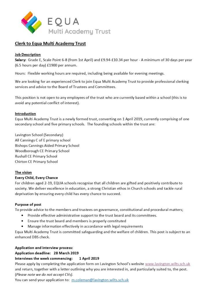 Clerk to Equa MAT job description - Woodborough Primary School